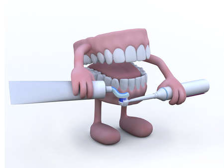 oral hygiene: open denture with arms, legs and toothpaste tube and electric toothbrush, 3d illustration