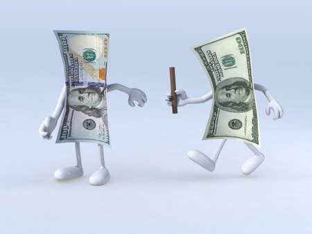 relais tussen oude en nieuwe 100 dollar biljetten, het concept van innovatie en uitwisseling van deskundigheid