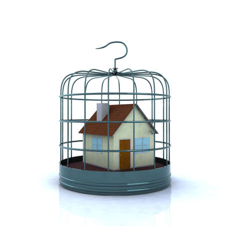prison house: home inside a birdcage, 3d illustration Stock Photo