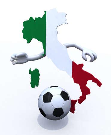Italy map play soccer, 3d illustration illustration