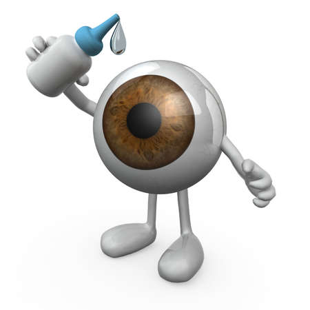 put: big eye with legs and arms that you put eye drops, 3d illustration Stock Photo