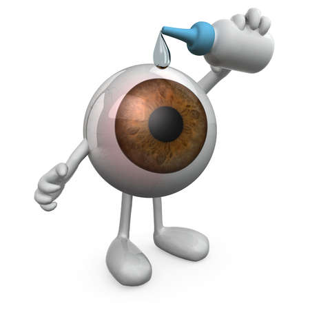 eye protection: big eye with legs and arms that you put eye drops, 3d illustration Stock Photo
