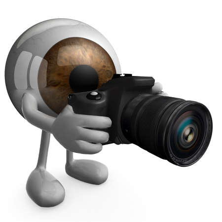 50mm: big eye with arms, legs and digital photo camera while framing