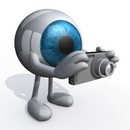 taking photograph: big eye with arms, legs and digital photo camera while framing
