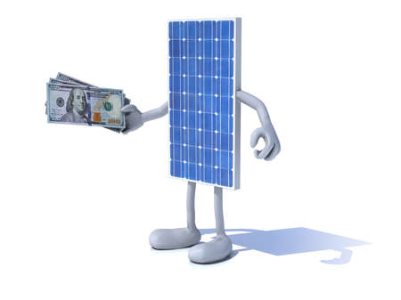 panel: solar panel with arms and legs and dollar notes on hand Stock Photo