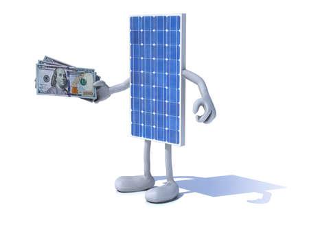zonnepaneel met armen en benen en dollar notities bij de hand