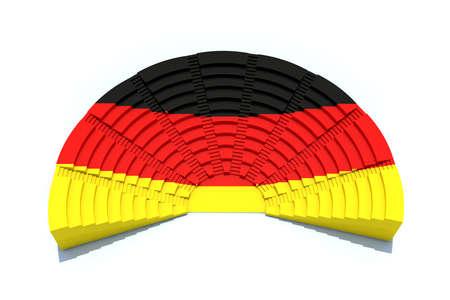 deutsch: 3d concept german parliament with flag colors