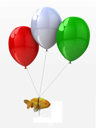 jelly head: goldfish tied to a balloons that flies, 3d illustration