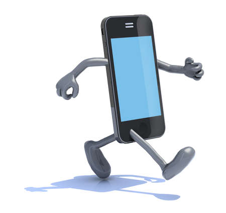 cellphone in hand: smart phone with arms and legs that runs, 3d illustration Stock Photo