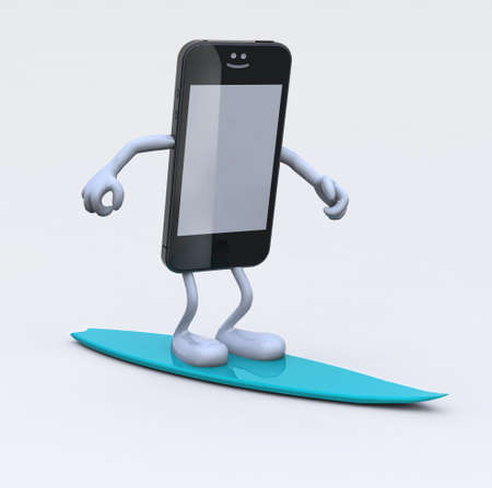browsing: smartphone with arms and legs on surfboard, 3d illustration