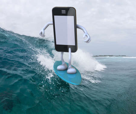 mobile cartoon: smartphone with arms and legs surfing on the sea, 3d illustration Stock Photo