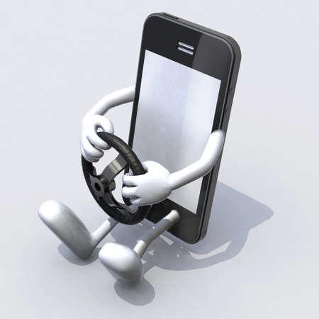 mobiele telefoon met armen en benen bestuurder, tekst-concepten Stockfoto