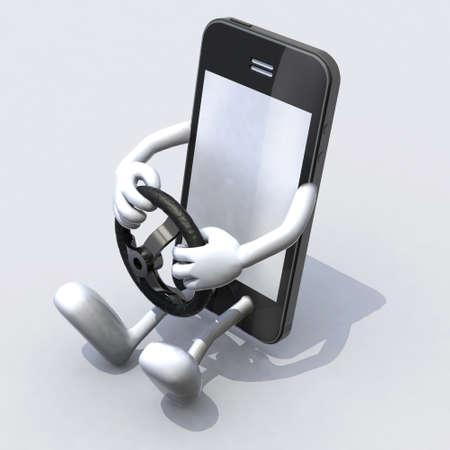 mobile phone with arms and legs driver, text stop concepts