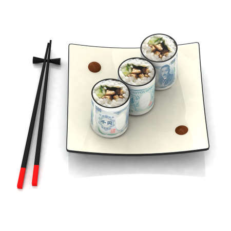korea food: chopsticks and sushi plate with japanese yen banknotes