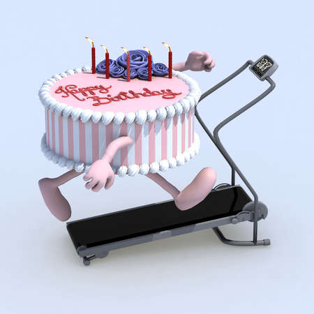 birthday candle: cartoon cake with arms and legs on running machine, 3d illustration