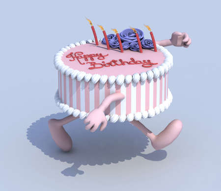 cartoon cake with arms and legs runner, 3d illustration illustration