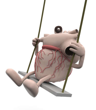 organ: Human heart with arms and legs on a swing, 3d illustration