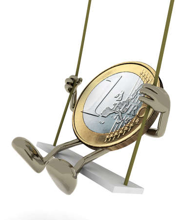 fluctuate: euro coin with arms and legs on a swing, 3d illustration