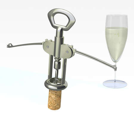 corkscrew, cork with glass of white wine on a white background photo