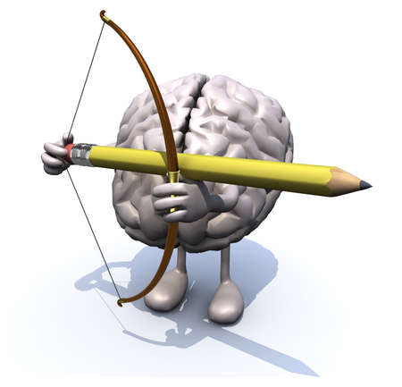 instead: brain with arms, legs, bow and arrow instead of a pencil, 3d illiustration Stock Photo