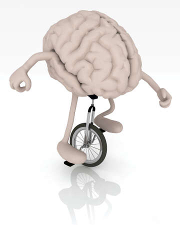 unicycle: human brain with arms and legs rides a unicycle with ease, 3d illustration Stock Photo