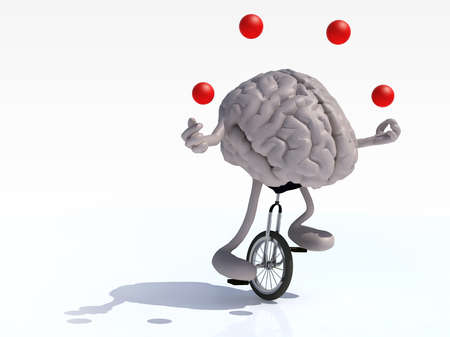 unicycle: human brain with arms and legs juggle rides a unicycle with ease, 3d illustration
