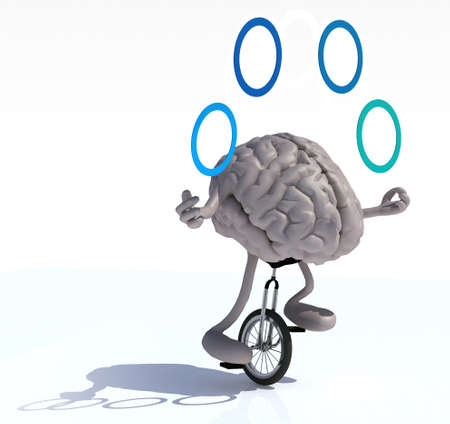 ease: human brain with arms and legs juggle rides a unicycle with ease, 3d illustration