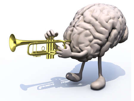 human brain with arms, legs playng trumpet, 3d illustration illustration