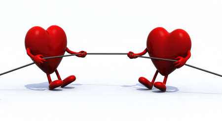 tug war: two hearts tug of war rope, 3d illustration