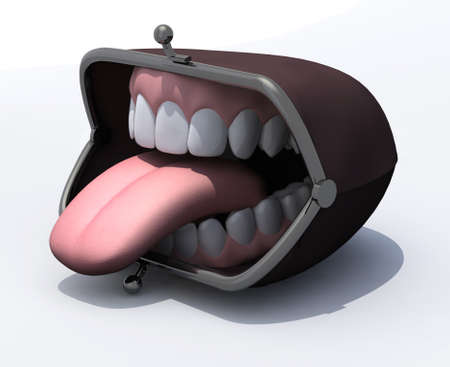 empty wallet: purse with open mouth and tongue out on a white background, 3d illustration