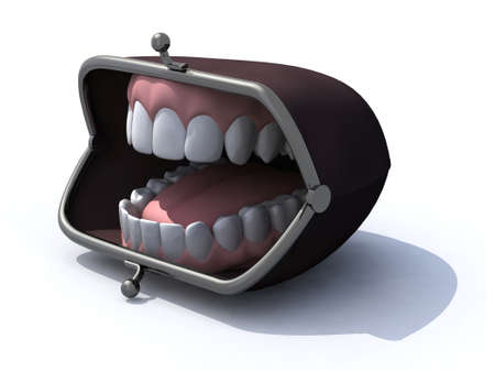 purse with open mouth on a white background, 3d illustration illustration