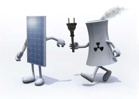 relay between nuclear industry and solar panel, the concept of innovation technology photo