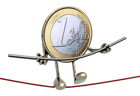 finacial: one euro coin acrobat who walks on a wire, concept of finacial risk Stock Photo