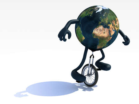 ease: planet earth with arms and legs rides a unicycle with ease, 3d illustration