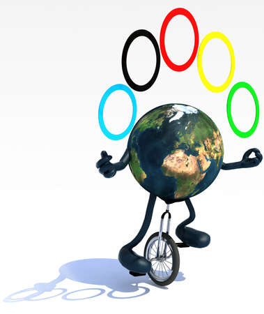 unicycle: planet earth with arms and legs juggle rides a unicycle with ease, 3d illustration