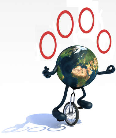 ease: planet earth with arms and legs juggle rides a unicycle with ease, 3d illustration