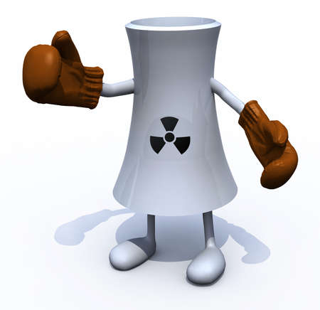 nuclear factory with arms, legs and boxing gloves, 3d illustration illustration