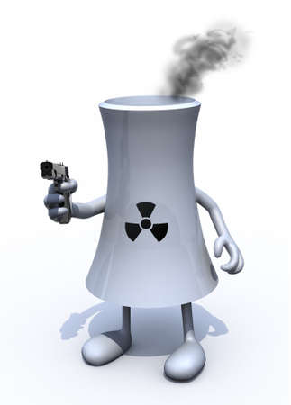nuclear weapons: nuclear factory with arms, legs and weapon on hand, 3d illustration