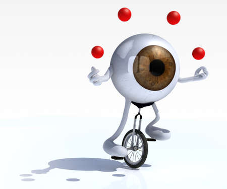 at ease: eyeball with arms and legs rides a unicycle with ease, 3d illustration