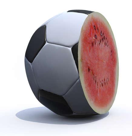 a soccer ball cut inside a watermelon, 3d illustration illustration