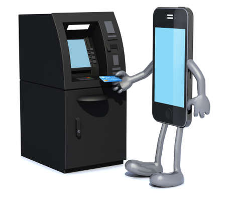 smartphone that is using an ATM, 3d illustration illustration