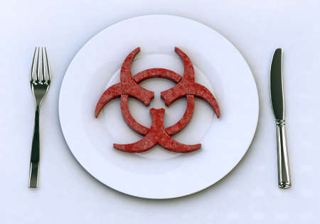 polluted: dangerous food into plate with for and knife, 3d illustration