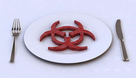 dangerous: dangerous food into plate with for and knife, 3d illustration