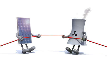 cooling towers: solar panel and chemical chimney make tug of rope, 3d illustration