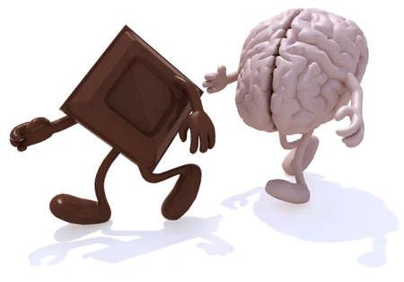 blok chocolade achtervolgd door menselijke hersenen, 3d illustratie