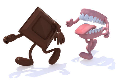 chased: block chocolate chased by open denture, 3d illustration