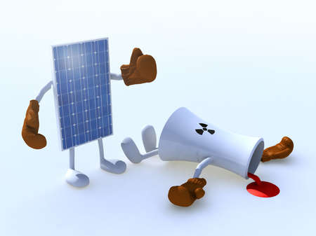 cooling towers: solar panel and chemical chimney make boxing, 3d illustration Stock Photo