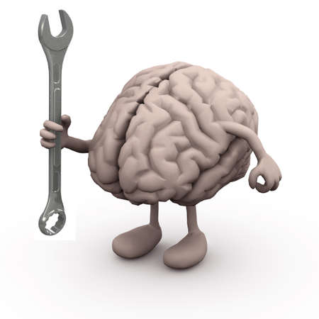 mentality: human brain with arms and legs and wrench on hand,  Stock Photo