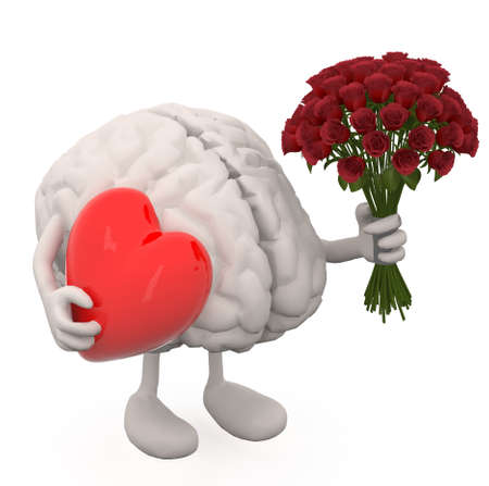 human brain with arms, leg, bunch of roses and red heart on hands