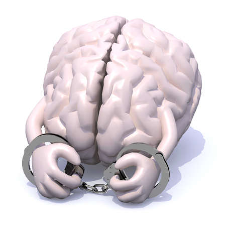 lock and chain: human brain with arms, legs and handcuffs on hands
